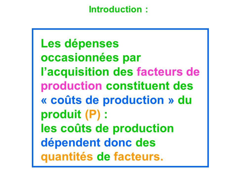 les coûts de production dépendent donc des quantités de facteurs.