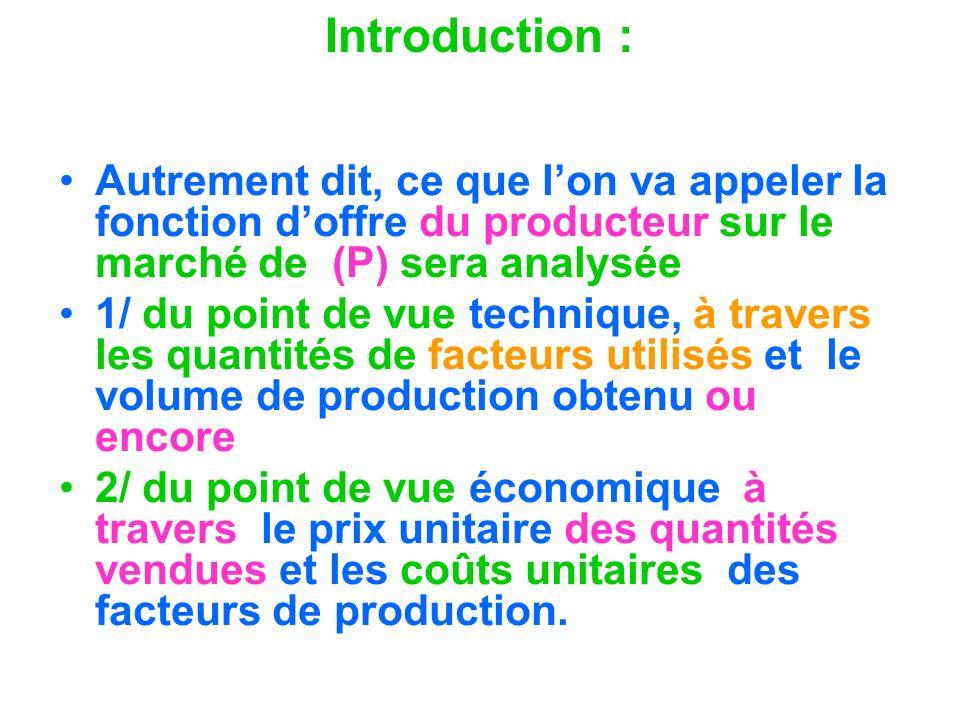 Introduction : Autrement dit, ce que l'on va appeler la fonction d'offre du producteur sur le marché de (P) sera analysée.