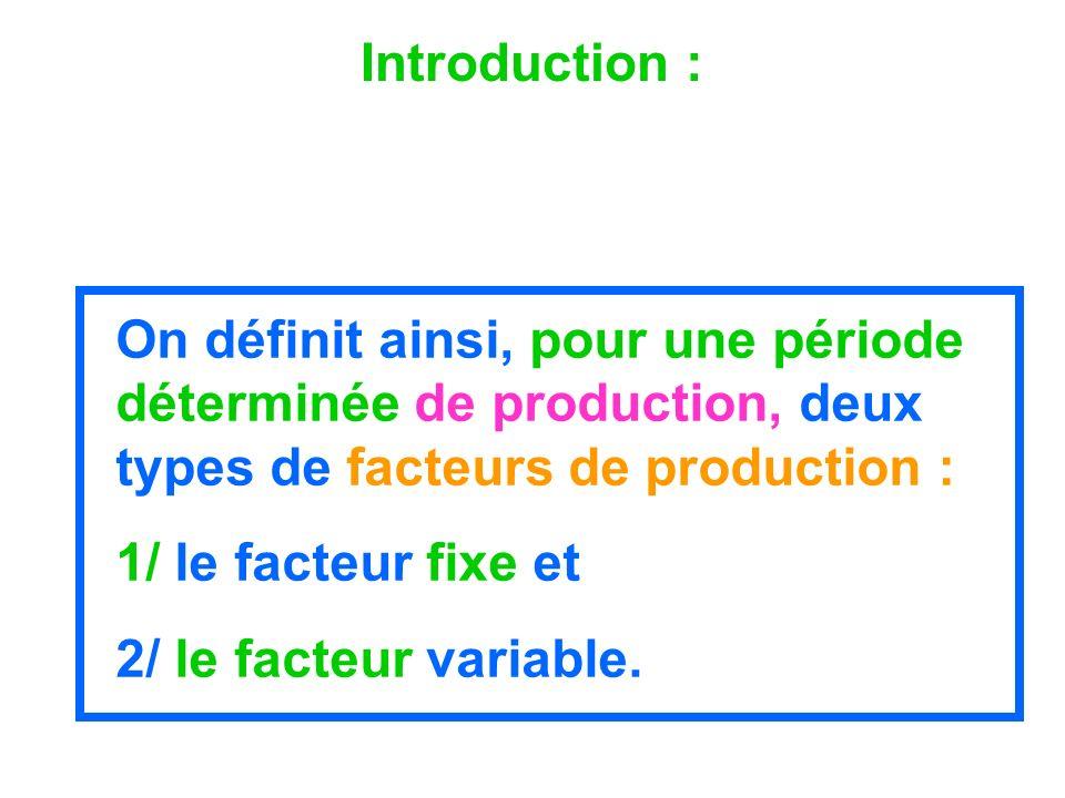 Introduction : On définit ainsi, pour une période déterminée de production, deux types de facteurs de production :