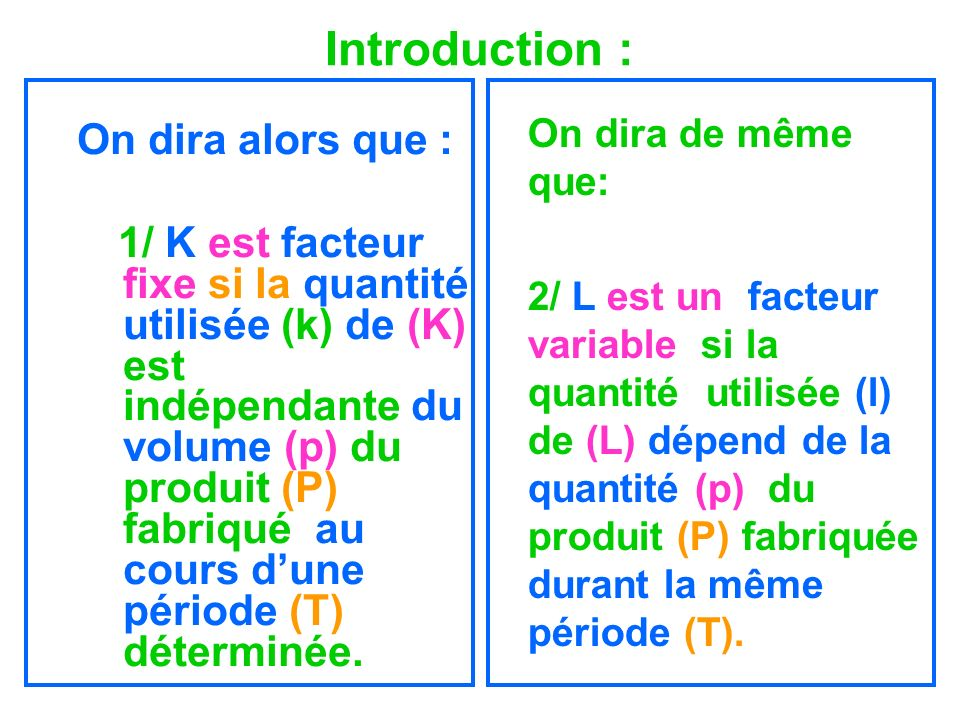 Introduction : On dira alors que :