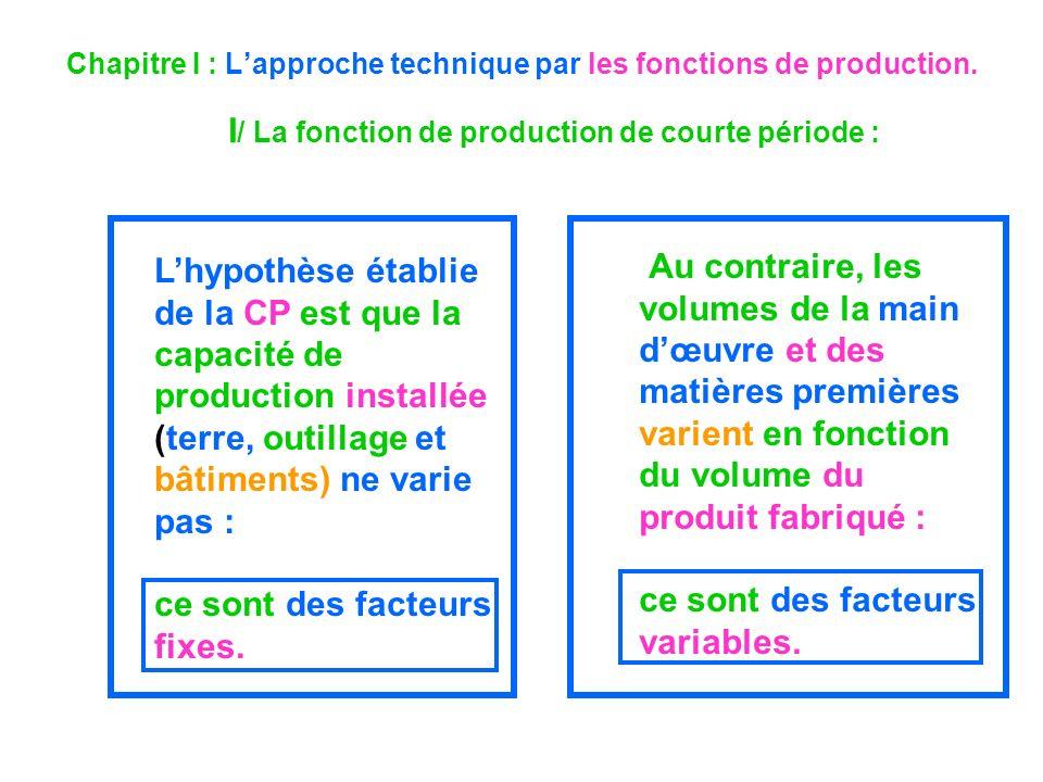 Chapitre I : L'approche technique par les fonctions de production.