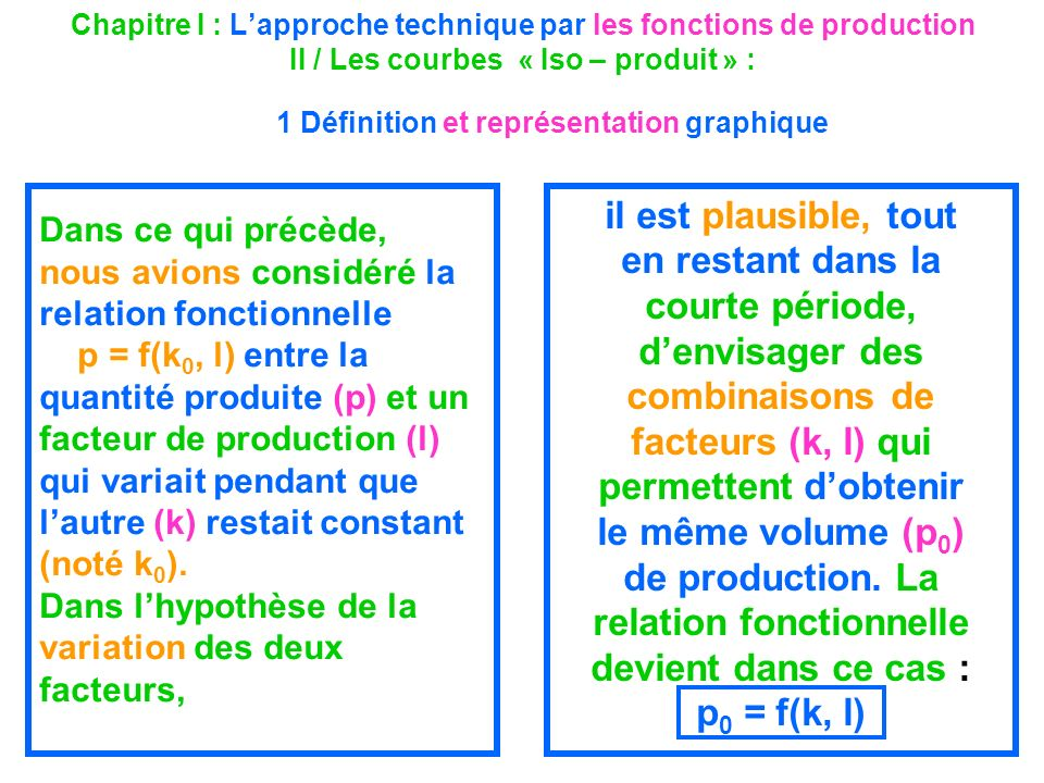 Chapitre I : L'approche technique par les fonctions de production II / Les courbes « Iso – produit » : 1 Définition et représentation graphique