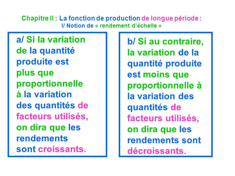 Chapitre II : La fonction de production de longue période : I/ Notion de « rendement d'échelle »