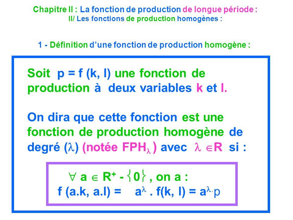 1 - Définition d'une fonction de production homogène :