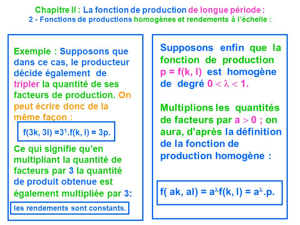 Supposons enfin que la fonction de production