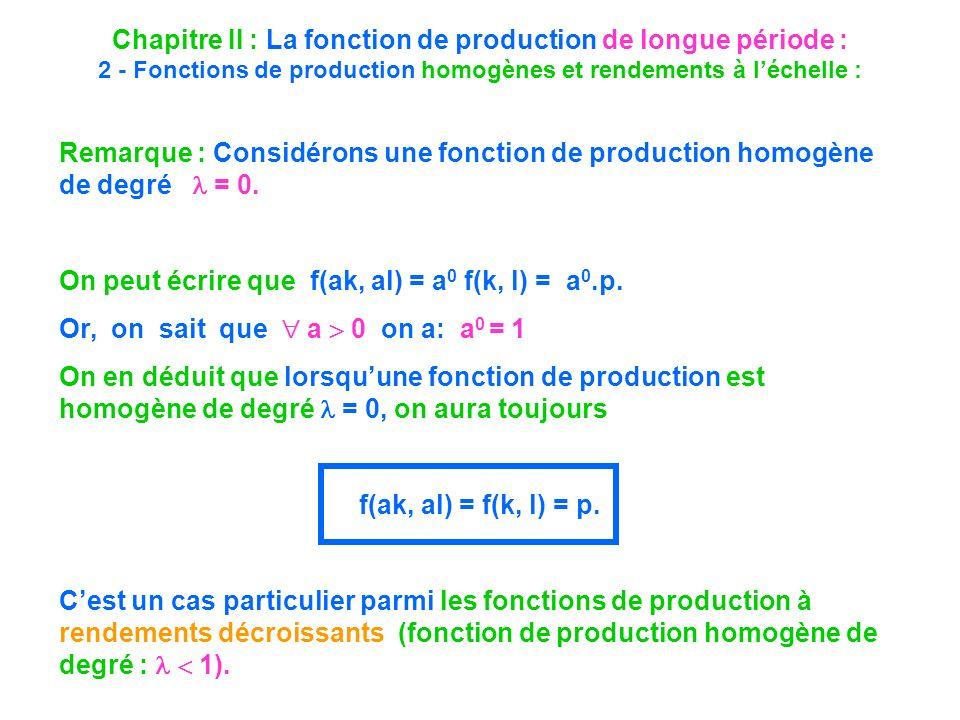 Chapitre II : La fonction de production de longue période : 2 - Fonctions de production homogènes et rendements à l'échelle :