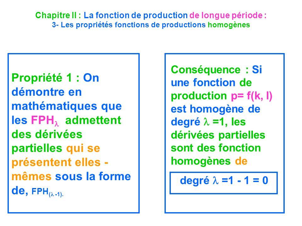 Chapitre II : La fonction de production de longue période : 3- Les propriétés fonctions de productions homogènes