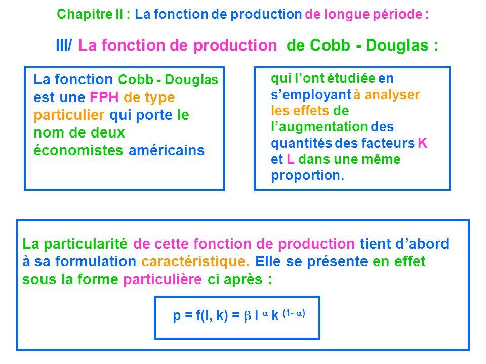 Chapitre II : La fonction de production de longue période : III/ La fonction de production de Cobb - Douglas :