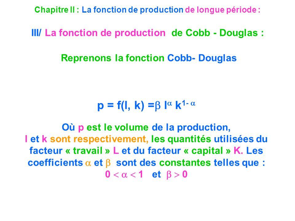 p = f(l, k) = l k1-  Reprenons la fonction Cobb- Douglas