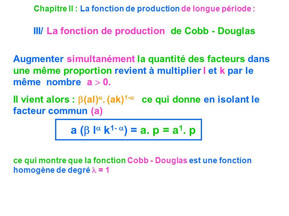 Chapitre II : La fonction de production de longue période : III/ La fonction de production de Cobb - Douglas