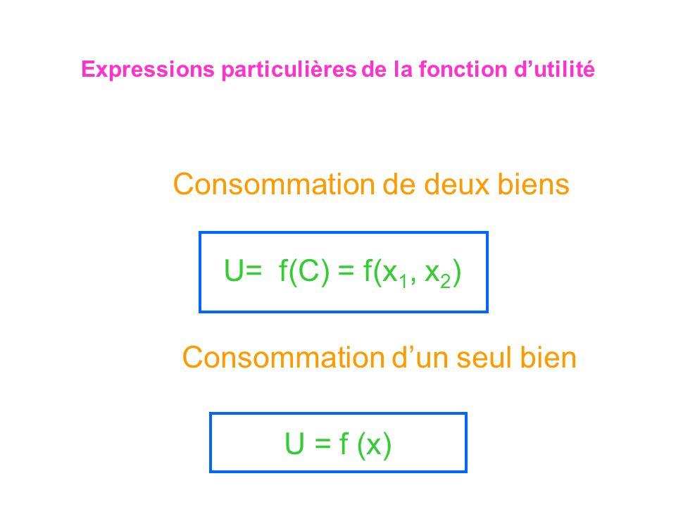 Expressions particulières de la fonction d'utilité