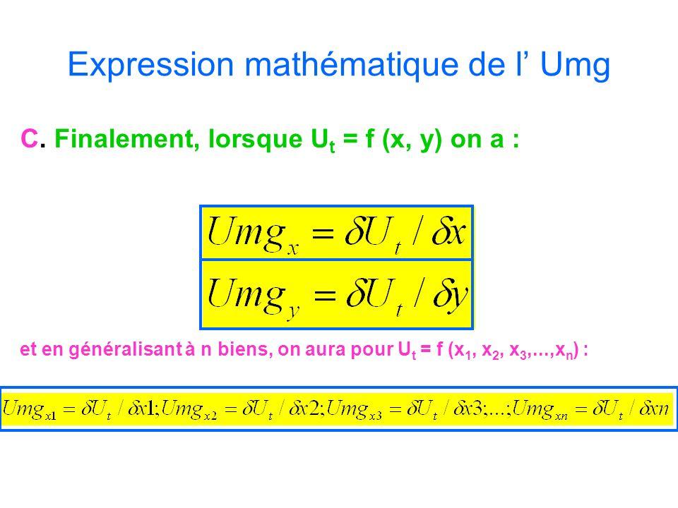 Expression mathématique de l' Umg