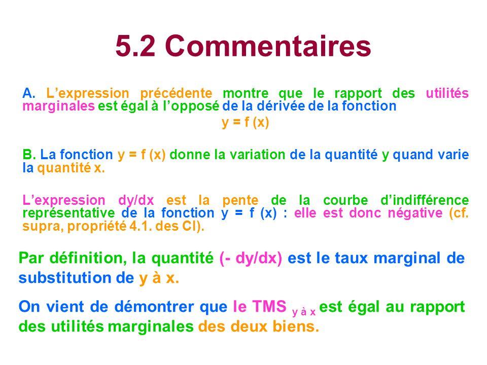 5.2 Commentaires A. L'expression précédente montre que le rapport des utilités marginales est égal à l'opposé de la dérivée de la fonction.