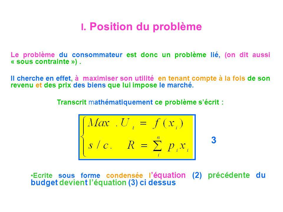 Transcrit mathématiquement ce problème s'écrit :