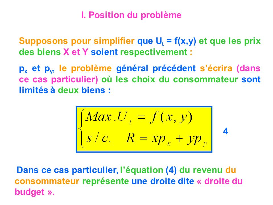 I. Position du problème Supposons pour simplifier que Ut = f(x,y) et que les prix des biens X et Y soient respectivement :