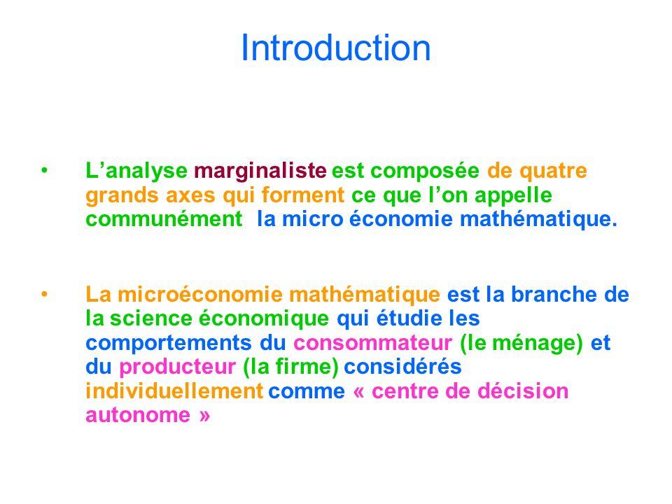Introduction L'analyse marginaliste est composée de quatre grands axes qui forment ce que l'on appelle communément la micro économie mathématique.