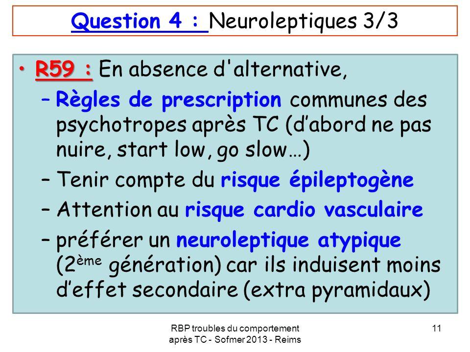 Question 4 : Neuroleptiques 3/3