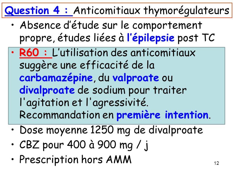 Question 4 : Anticomitiaux thymorégulateurs