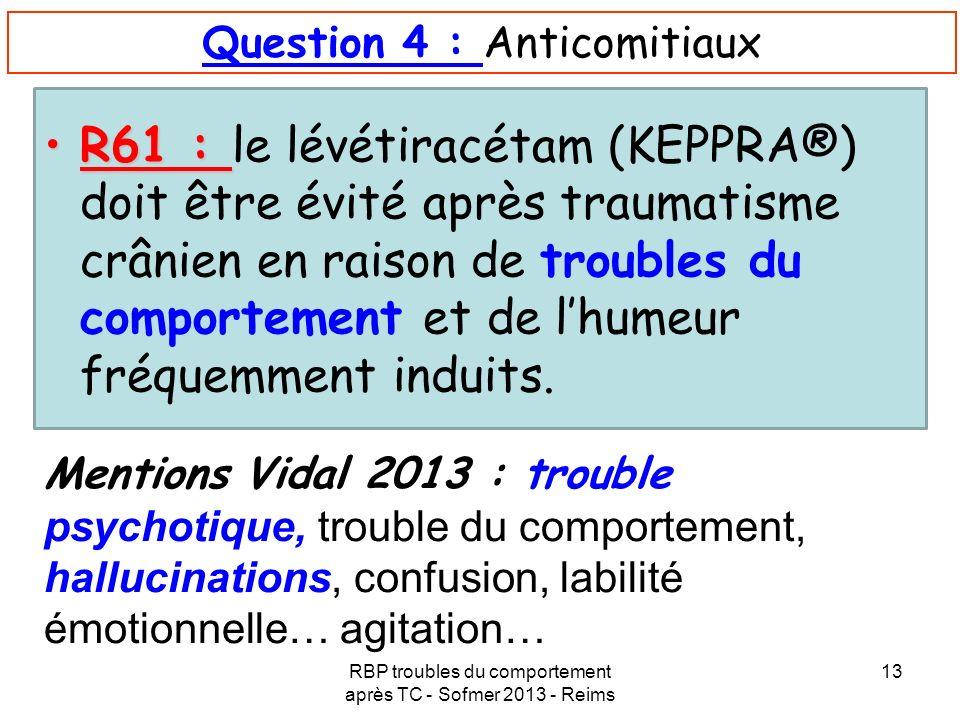 Question 4 : Anticomitiaux