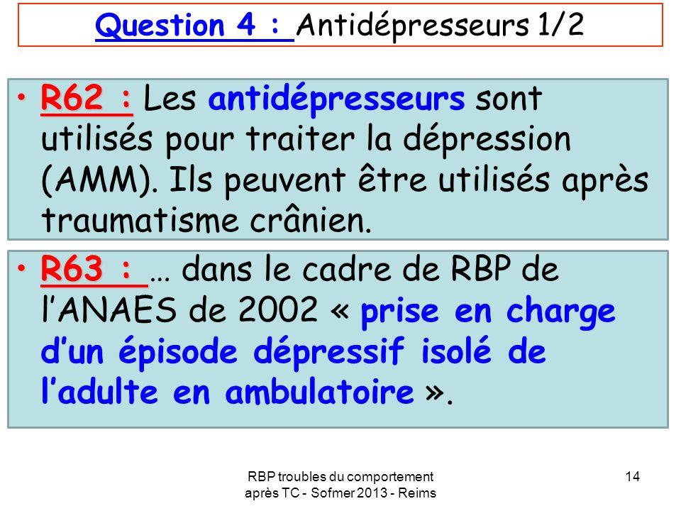 Question 4 : Antidépresseurs 1/2
