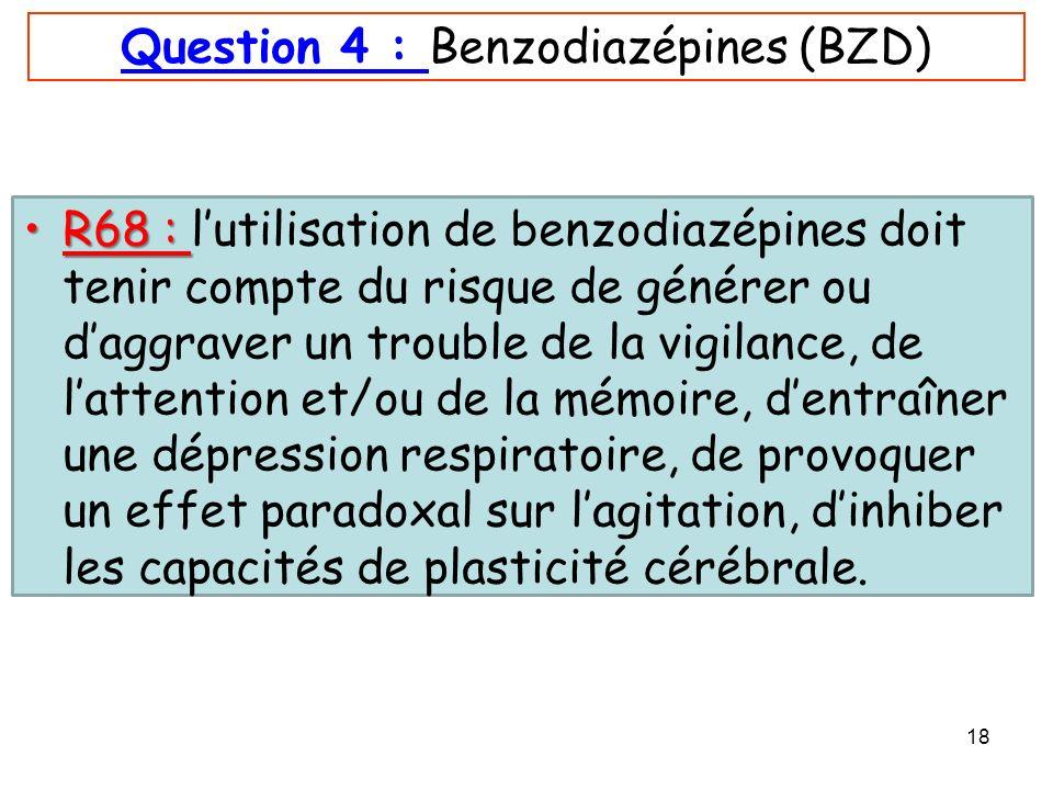 Question 4 : Benzodiazépines (BZD)
