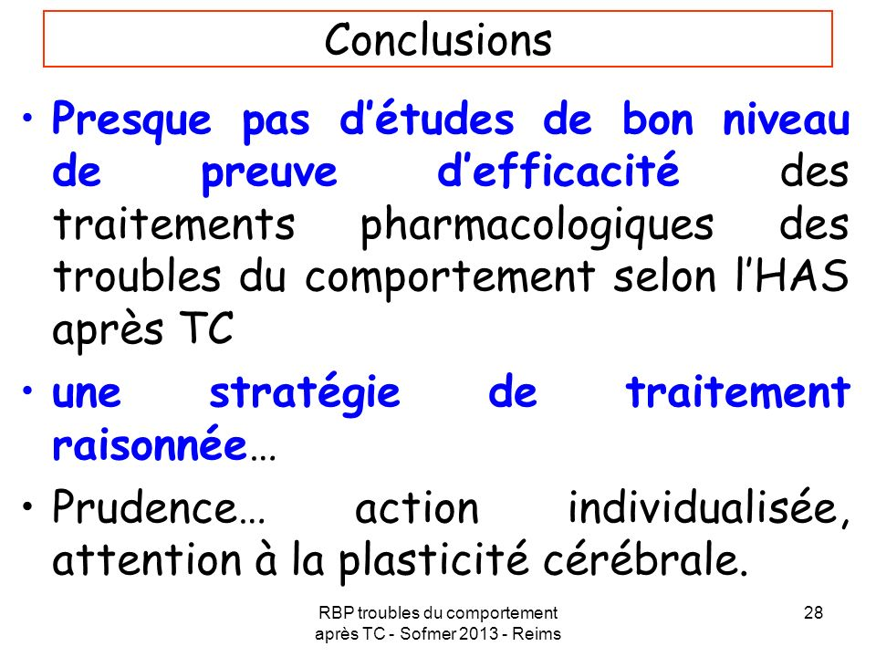 RBP troubles du comportement après TC - Sofmer 2013 - Reims