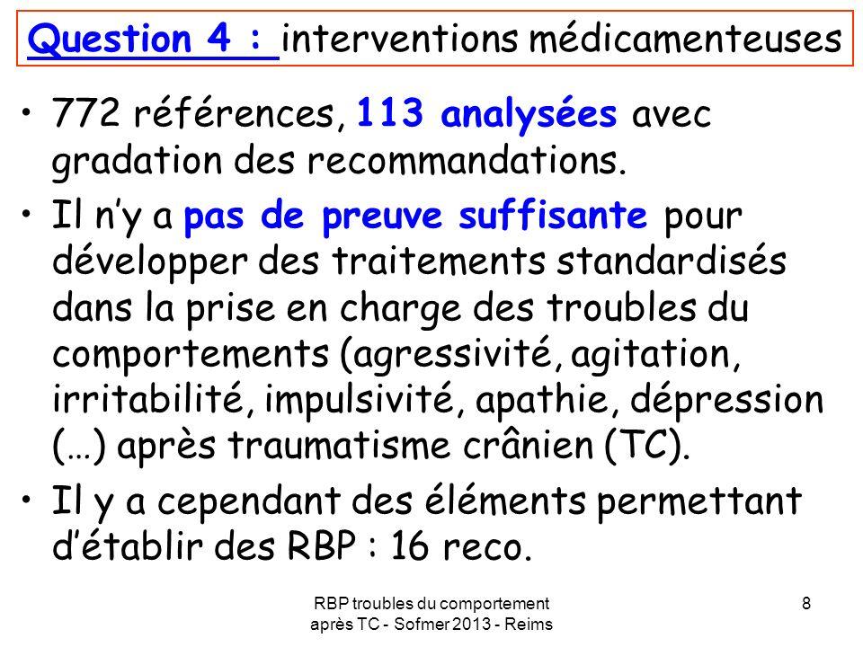 Question 4 : interventions médicamenteuses