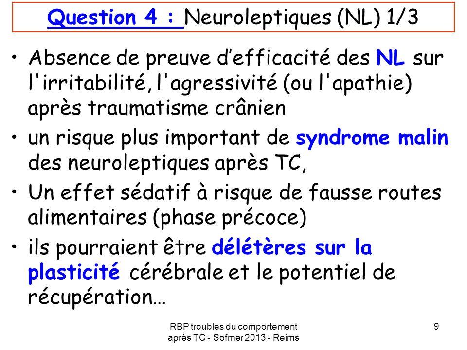 Question 4 : Neuroleptiques (NL) 1/3