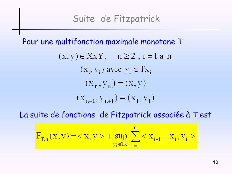 Suite de Fitzpatrick Pour une multifonction maximale monotone T