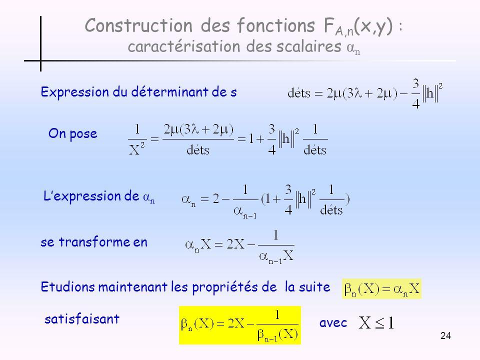 Construction des fonctions FA,n(x,y) : caractérisation des scalaires αn