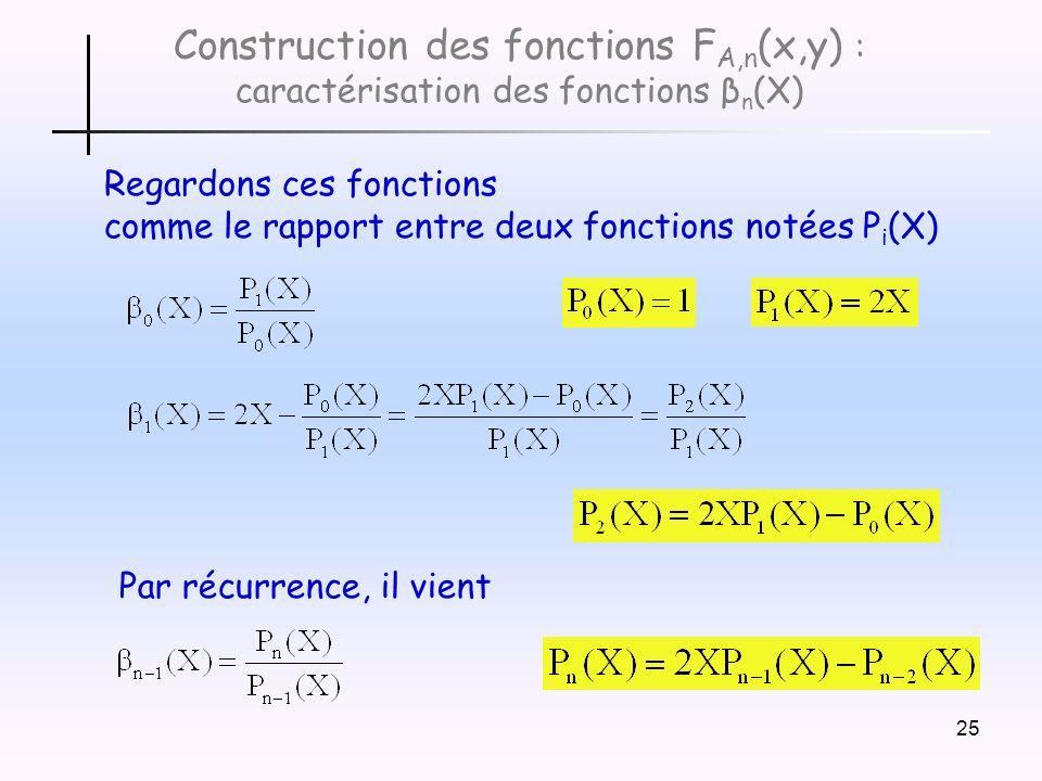 Construction des fonctions FA,n(x,y) : caractérisation des fonctions βn(X)