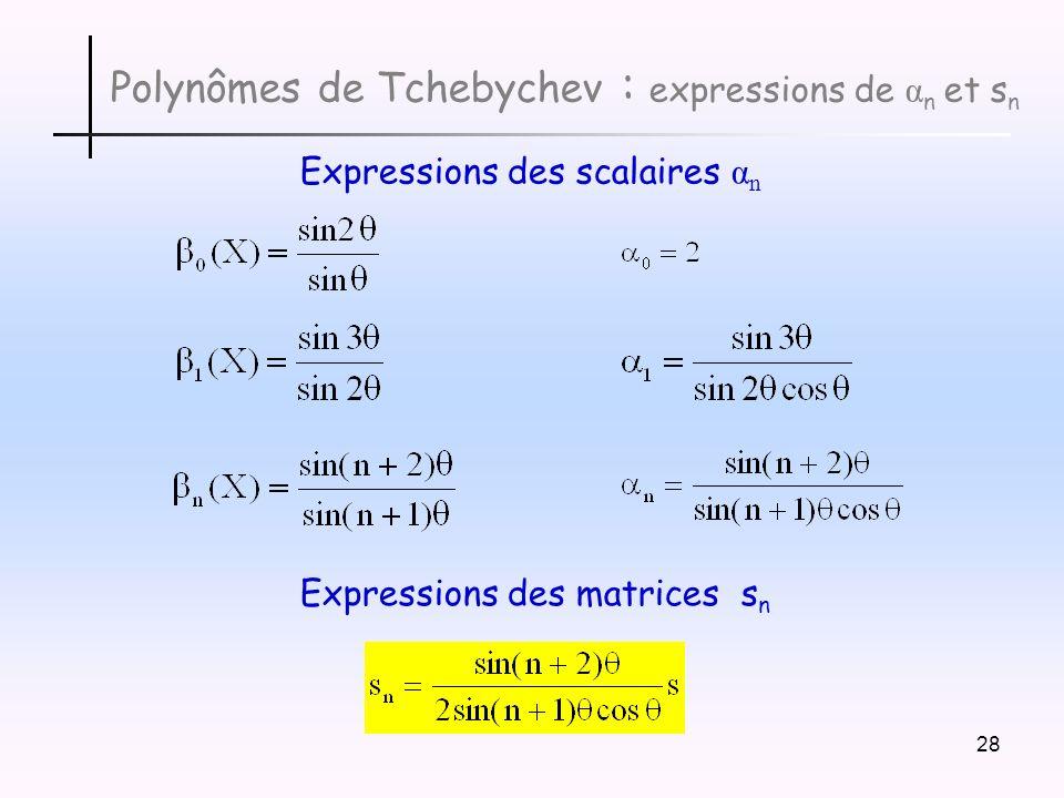 Polynômes de Tchebychev : expressions de αn et sn