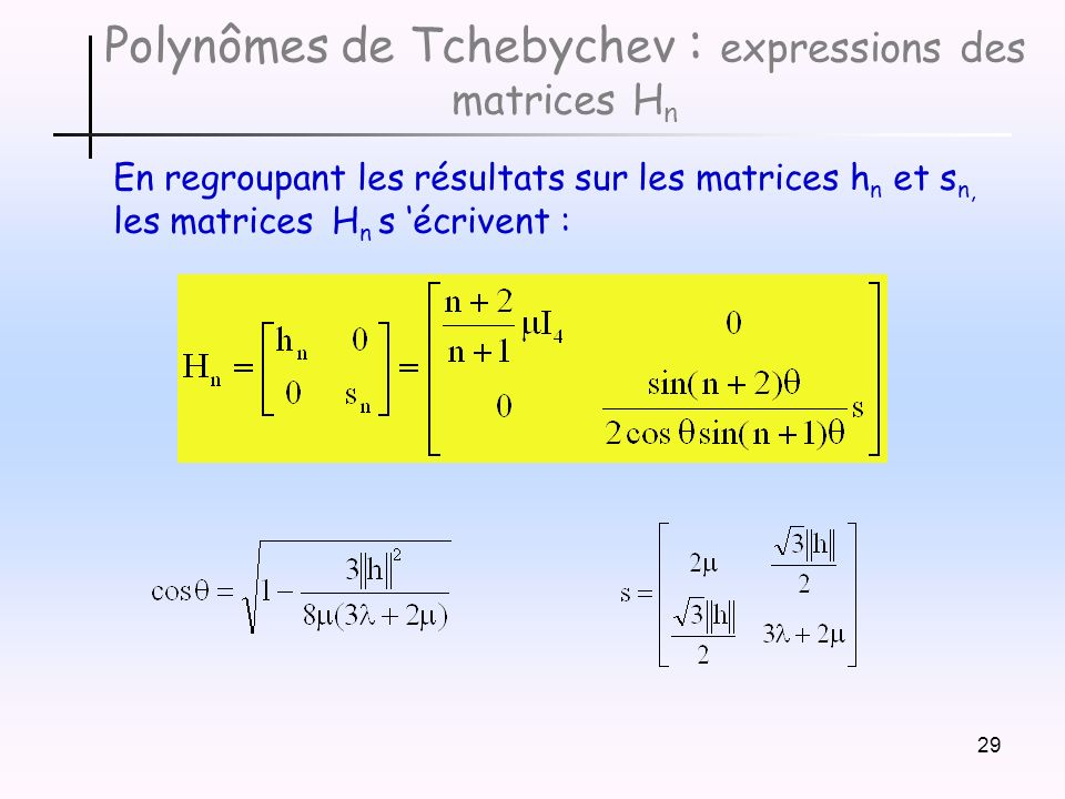 Polynômes de Tchebychev : expressions des matrices Hn