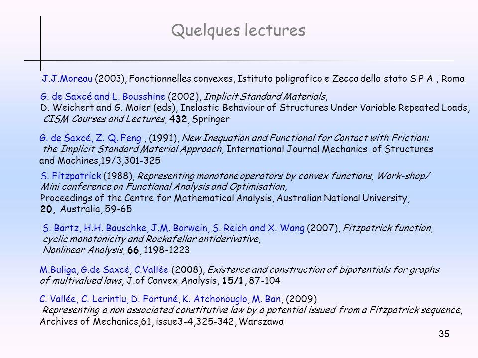 Quelques lectures J.J.Moreau (2003), Fonctionnelles convexes, Istituto poligrafico e Zecca dello stato S P A , Roma.