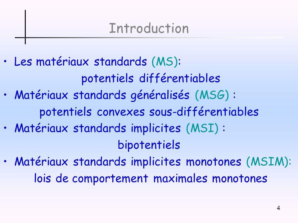 Introduction Les matériaux standards (MS): potentiels différentiables