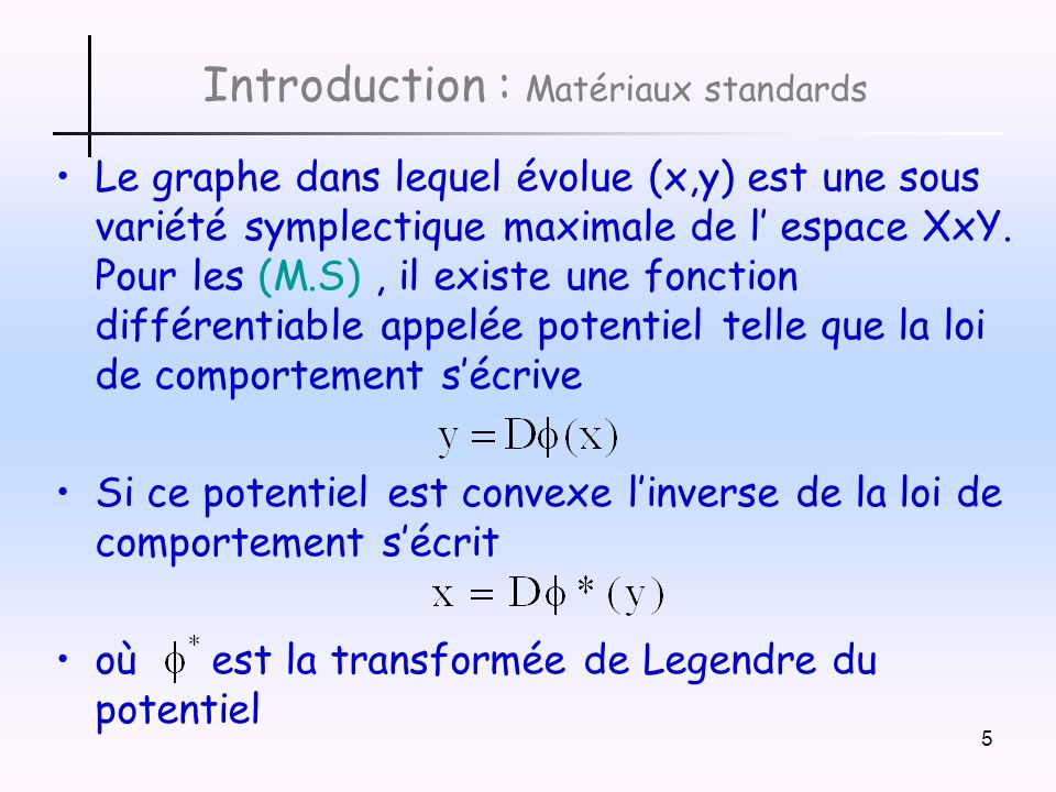 Introduction : Matériaux standards