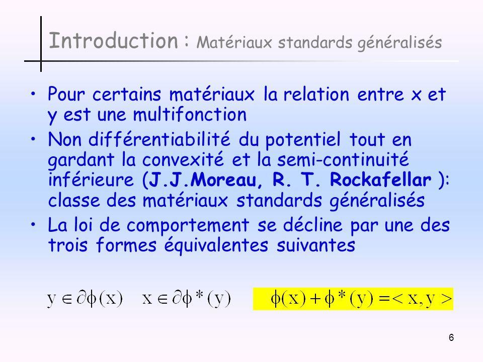 Introduction : Matériaux standards généralisés