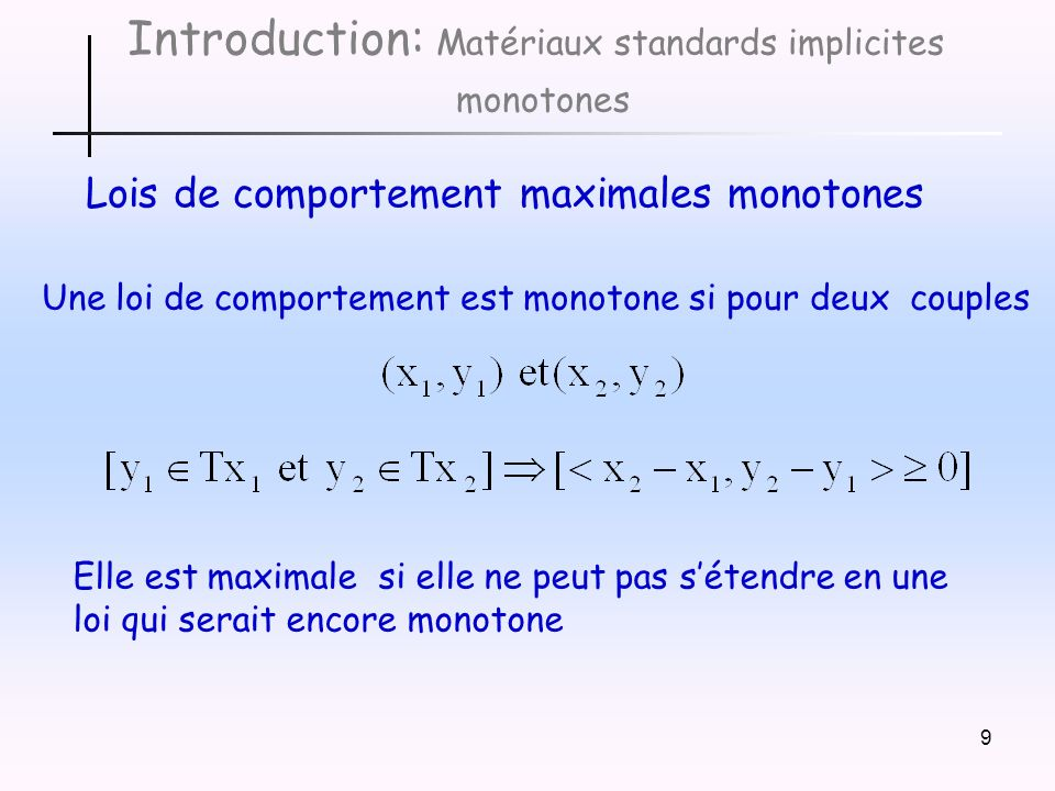 Introduction: Matériaux standards implicites monotones