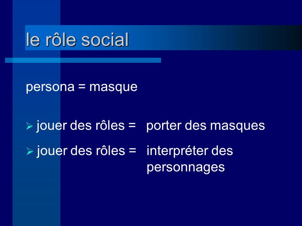 le rôle social persona = masque jouer des rôles = porter des masques