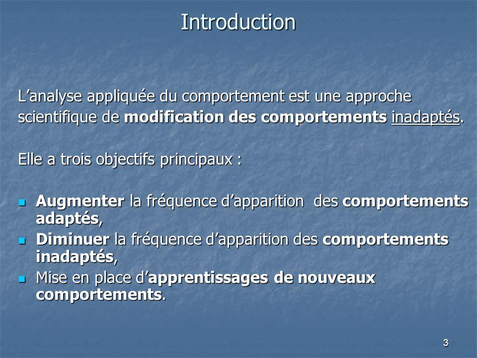 Introduction L'analyse appliquée du comportement est une approche