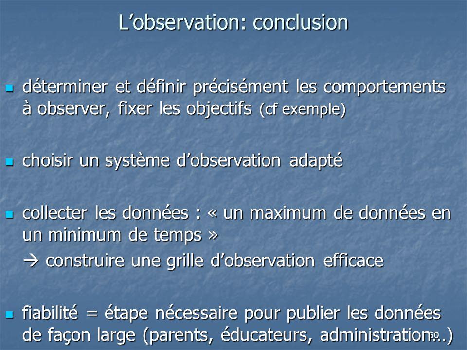 L'observation: conclusion
