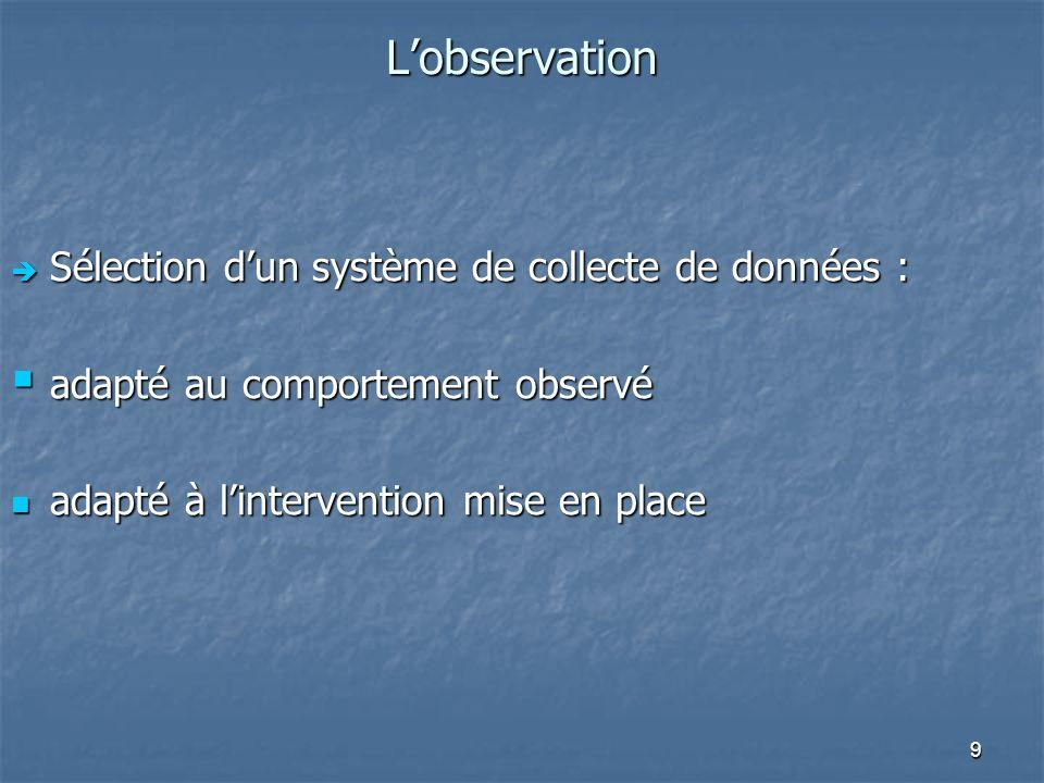 L'observation Sélection d'un système de collecte de données :
