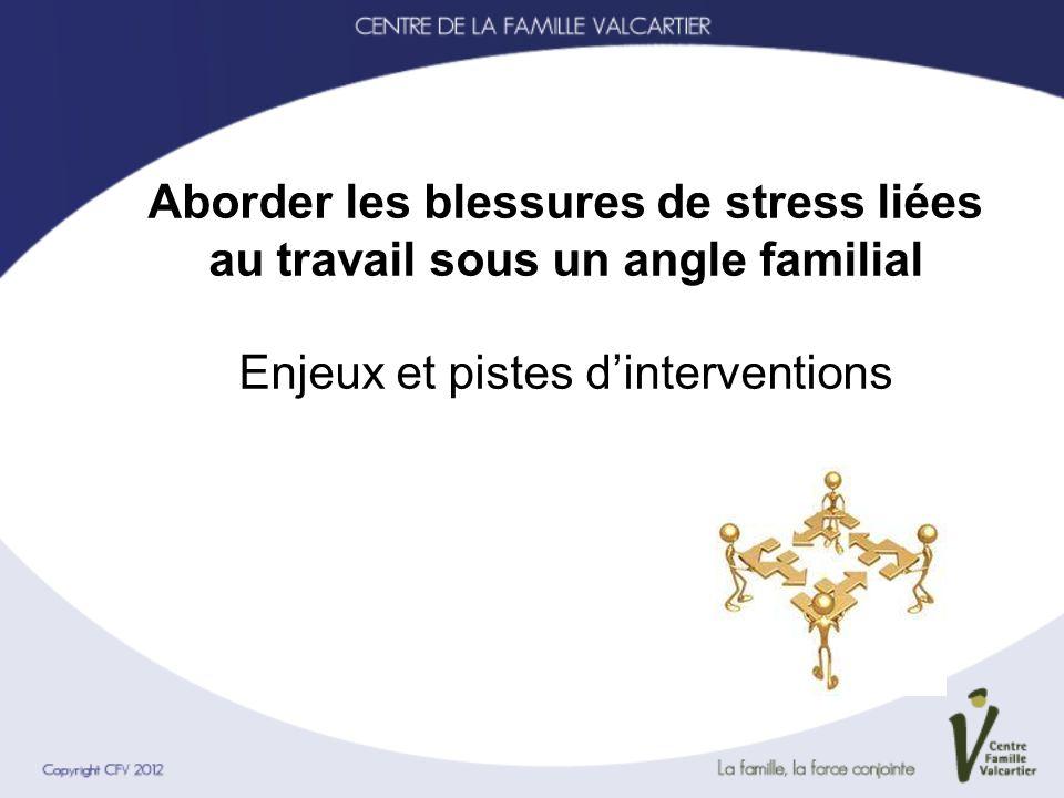Aborder les blessures de stress liées au travail sous un angle familial Enjeux et pistes d'interventions