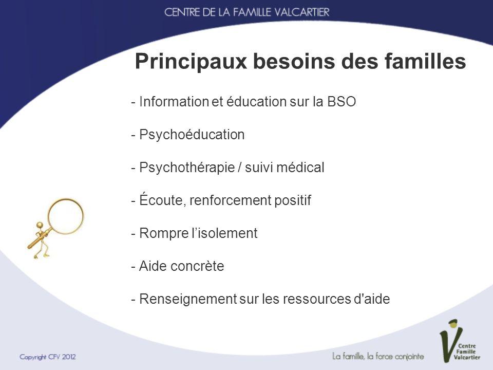 Principaux besoins des familles