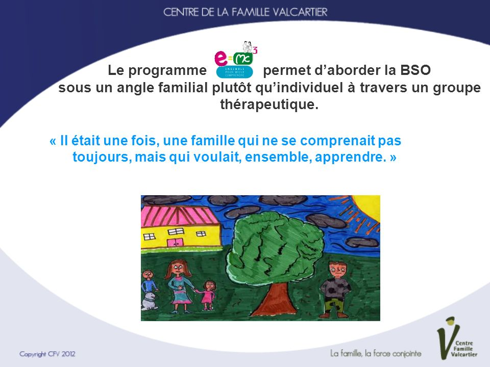 Le programme permet d'aborder la BSO sous un angle familial plutôt qu'individuel à travers un groupe thérapeutique.