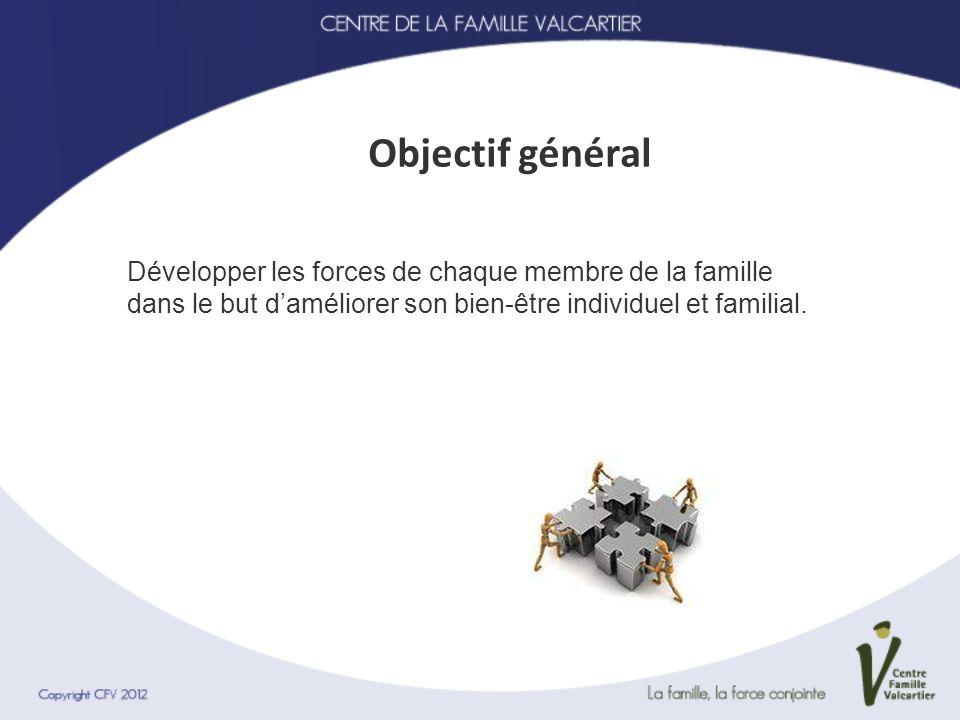 Objectif général Développer les forces de chaque membre de la famille dans le but d'améliorer son bien-être individuel et familial.