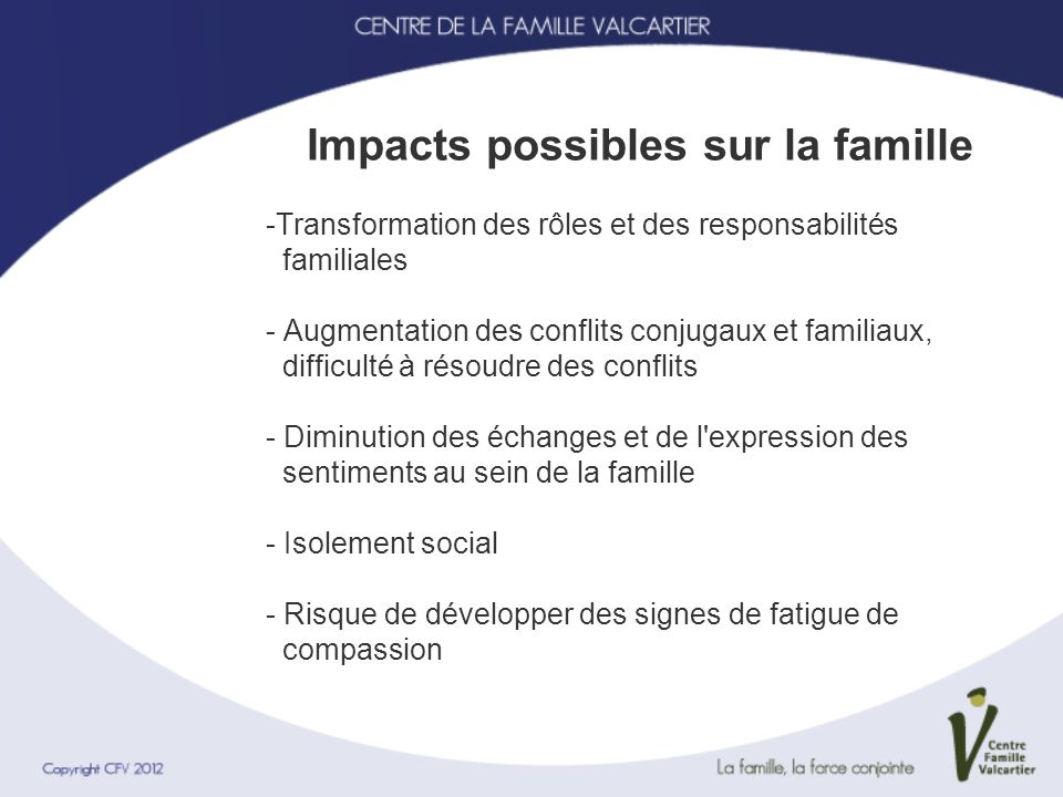 Impacts possibles sur la famille