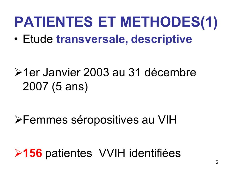PATIENTES ET METHODES(1)