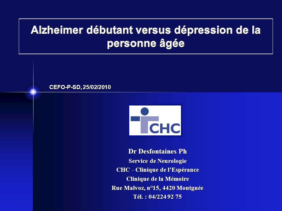 Alzheimer débutant versus dépression de la personne âgée