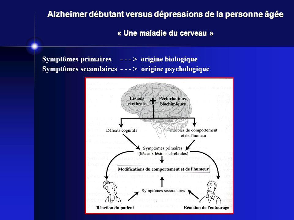 Alzheimer débutant versus dépressions de la personne âgée « Une maladie du cerveau »